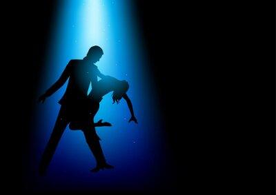 Fototapete Silhouette Illustration eines Paares tanzen