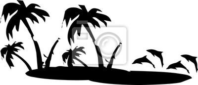 Silhouette - Illustration - Umriss - Display Schönheit am Strand auf Reisen