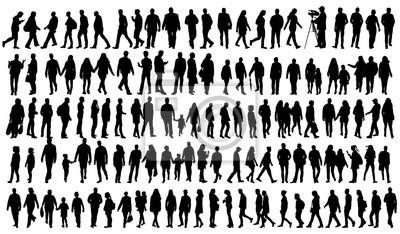 Fototapete Silhouette Menschen gehen gesetzt