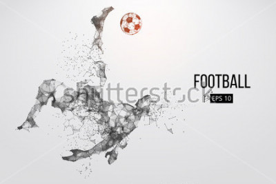 Fototapete Silhouette of a football player. Dots, lines, triangles, text, color effects and background on a separate layers, color can be changed in one click. Vector illustration