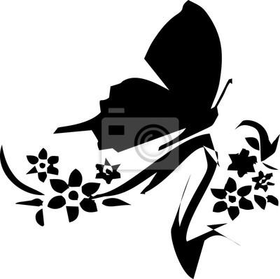 Silhouette - Schmetterling auf der Blume