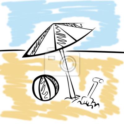 Sonnenschirm strand clipart  Silhouette strand mit ball und sonnenschirm fototapete • fototapeten ...