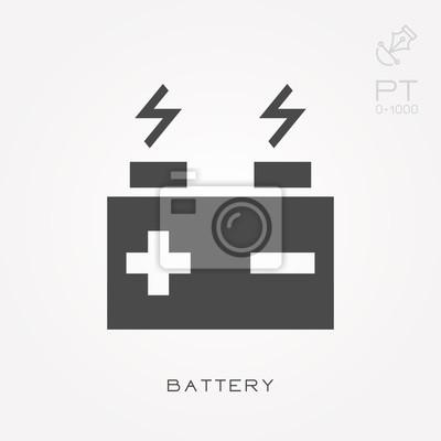 Silhouette symbol batterie fototapete • fototapeten wiederaufladbare ...