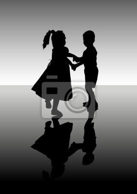 Silhouette tanzende Kinder. Ein Vektor-Illustration.