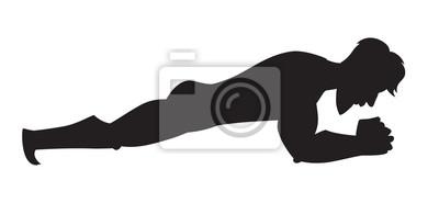 Silhouette vektorabbildung. Plankübung. Karikaturartathlet. Isolierte Vektor auf weißem Hintergrund