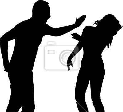 Silhouette-Zärtlichkeit-nicht versuchen, es eine Slap Frau mit der Wohnung der Band