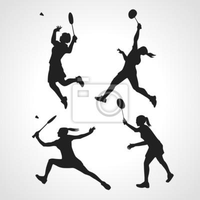 Silhouetten von Frauen professionellen Badmintonspieler
