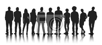 Fototapete Silhouettes Gruppe von Personen in einer Reihe
