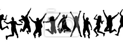 Fototapete Silhouettes of many different jumping people, seamless pattern. Isolated on white background.