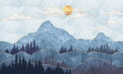 Fototapete Silhouettes of mountains with trees. Abstraction of textured plaster with gold elements. Mural, mural, Wallpapers for interior printing