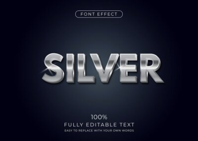 Fototapete Silver text effect. Editable font style