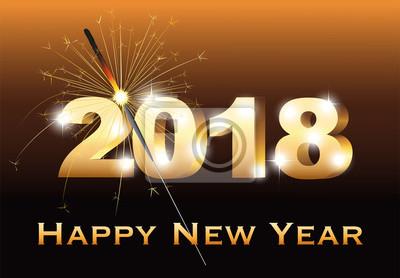 Silvester Karte In Englisch Mit Wunderkerze Und Neujahr