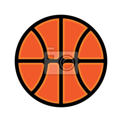 Simple Basketball Icon Flat Design Illustration