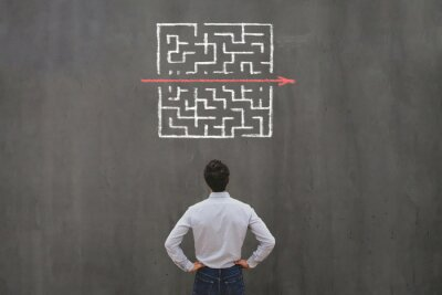 Fototapete simple easy fast solution concept, problem solving, business man thinking about exit from complex labyrinth maze