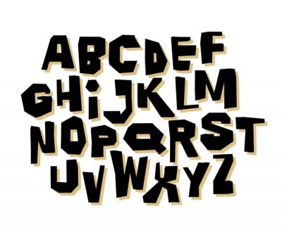 Simple hand lettering retro font on white background. Vector alphabet