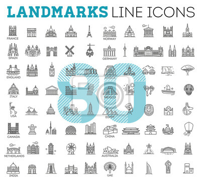 Fototapete Simple linear Vector icon set representing global tourist landmarks and travel destinations for vacations
