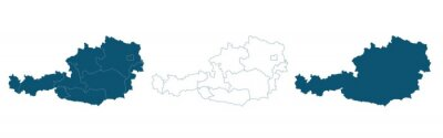 Fototapete Simple map of Austria vector drawing. Mercator projection. Filled and outline.