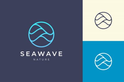 Fototapete Simple sea logo template in circle and wave shape
