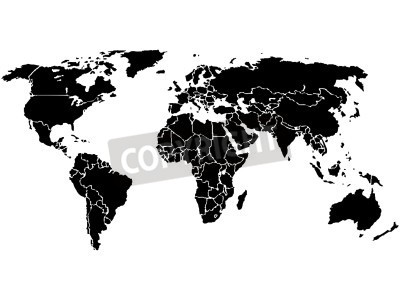 Simplified world map, black on white background. each country ...