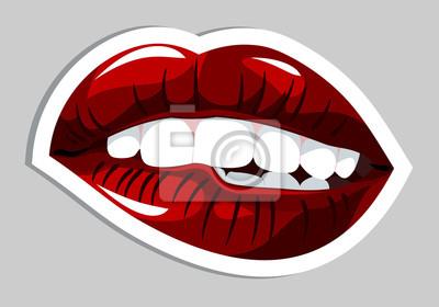 Die Lippen Und Der Geometrische Hintergrund