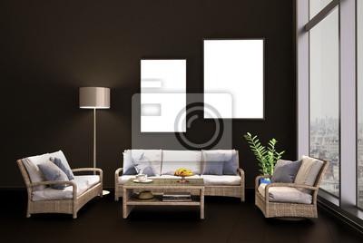 Fototapete Sitzecke Mit Korkmöbeln Im Wohnzimmer