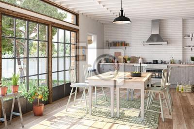 Skandinavische, nordische küche - esszimmer - wohnung ...