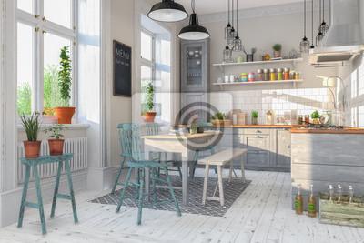 Fototapete: Skandinavische, nordische küche - wohnzimmer - esszimmer -  wohnung