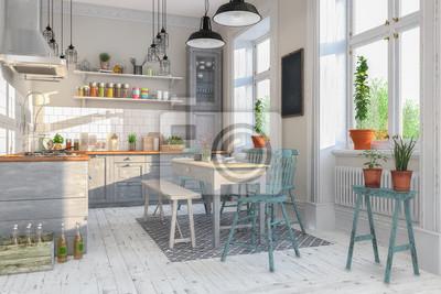 Fototapete Skandinavische, Nordische Küche   Wohnzimmer   Esszimmer    Wohnung   Altbau