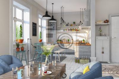 Skandinavische, nordische küche - wohnzimmer - esszimmer - wohnung ...