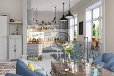 Skandinavische, nordische küche - wohnzimmer - esszimmer ...