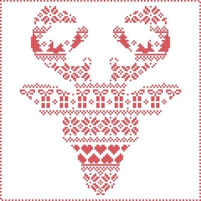 Fototapete Skandinavische nordische Winternähende strickende Weihnachtsmuster in in der Rentierkopfform frontal einschließlich Schneeflocken, Herzen Weihnachtsbäume Weihnachtsgeschenke, Schnee, Sterne, dekorativ