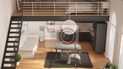 Skandinavischen minimalistischen loft, einzimmerwohnung mit grauer ...