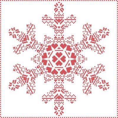 Fototapete Skandinavischen nordischen Kreuzstich, Stricken Weihnachten Muster in in Schneeflocke Form, mit Kreuzstich Rahmen einschließlich, Schnee, Herzen, Sterne, dekorative Elemente in rot auf weißem Hintergr
