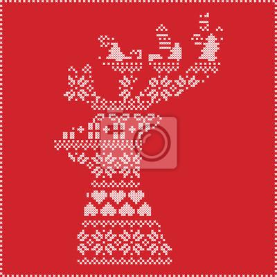 Skandinavischen nordischen winter stitching, stricken weihnachten ...