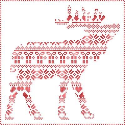Fototapete Skandinavischen nordischen Winter Stitching Weihnachtsmuster in in Rentier Körperform einschließlich Schneeflocken, Herzen Weihnachtsbäume Weihnachtsgeschenke, Schnee, Sterne, dekorative Ornamente 2