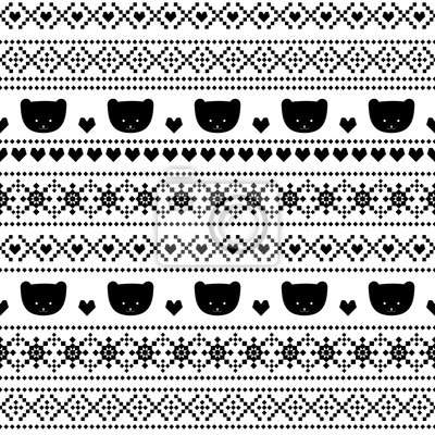 Fototapete Skandinavischen Pullover-Stil. Schwarz-Weiß-Hintergrund mit Teddybären für den Winterurlaub. Weihnachten traditionellen ornamentalen Muster. Nahtlose Muster mit lächelnden Teddybären für Kinder Urlaub