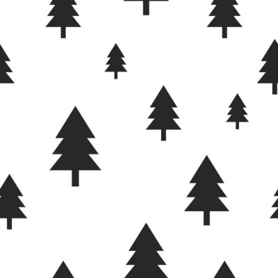 Fototapete Skandinavischen schwarzen Wald Baum auf weißem Vektor nahtlose Muster. Einfacher und modischer Entwurf für Textilgewebe, Verpackungspapier, Drucke.