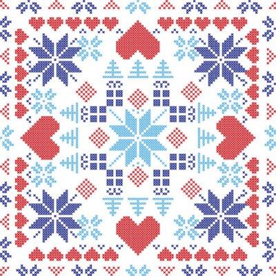 Fototapete Skandinavischen Stil Nordic Winter roten Schalter, Stricken nahtlose Muster in der quadratischen Form einschließlich Schneeflocken, Weihnachtsgeschenke, Weihnachtsbäume, Herzen und dekorative Elemente