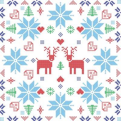 Fototapete Skandinavischen Stil Nordic Winter stich, stricken nahtlose Muster in der quadratischen Form einschließlich Schneeflocken, Bäume, Weihnachten Schneeflocken, Herzen, Rentiere und dekorative Elemente in