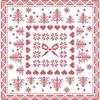 Fototapete Skandinavischen Stil Nordic Winterstich, stricken nahtlose Muster auf dem Platz, Fliesen-Form einschließlich Schneeflocken, Bogen, Weihnachtsbaum, Weihnachten Schneeflocken, Herzen, Dekorative Element