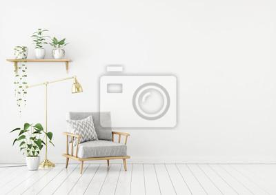 Skandinavischen Stil Wohnzimmer Mit Grauem Stoff Sessel Goldene