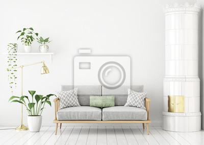 Fototapete Skandinavischen Stil Wohnzimmer Mit Stoff Sofa, Kissen, Grüne  Pflanzen Und Traditionellen Herd.