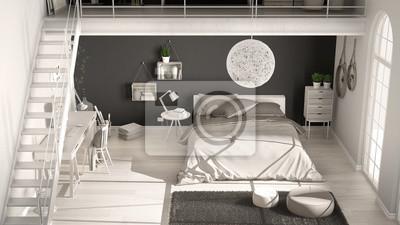 Fototapete Skandinavischen Weissen Und Grauen Minimalistischen Loft Schlafzimmer