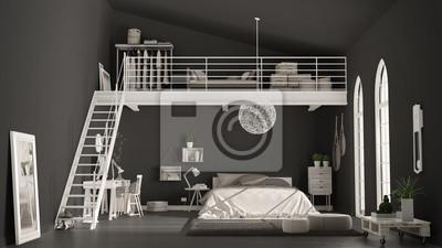 Fototapete Skandinavisches Minimalistisches Loft Schlafzimmer Mit Heimbüro,  Dunkel Schwarze Wände, Klassische Innenarchitektur