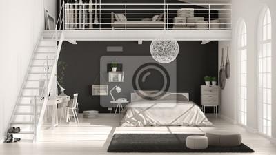 Skandinavisches minimalistisches loft-schlafzimmer mit heimbüro ...