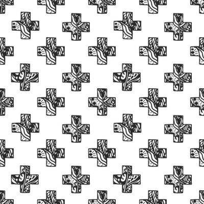 Fototapete Skandinavisches Minimalstil-Kreuzmuster mit offener Netzstruktur. Schwarzweiss-Geometriegewebedruckentwurf.