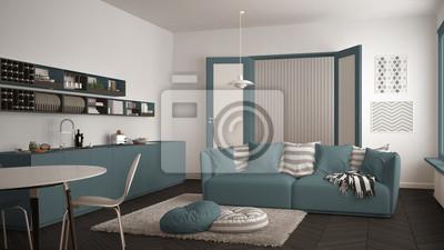 Fototapete: Skandinavisches modernes wohnzimmer mit küche, speisetisch, sofa