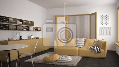Skandinavisches modernes wohnzimmer mit küche, speisetisch, sofa ...