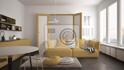Skandinavisches modernes wohnzimmer mit küche, speisetisch ...