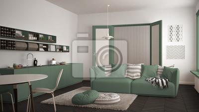 Skandinavisches Modernes Wohnzimmer Mit Kuche Speisetisch Sofa